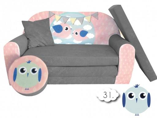 Sofa Kanapa łóżko Dla Dzieci Rozkładane Bird Grey