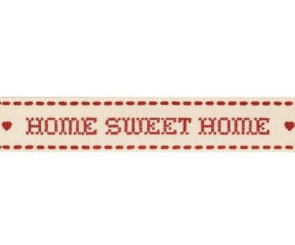 R534 Tasiemka wstążka HOME SWEET HOME kremowa 0.5m