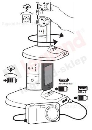 LEGRAND Przedłużacz wieża z USB ładowarka czarny