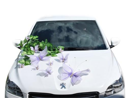 Motyle Dekoracja Na Autosamochód ślub Fioletowe