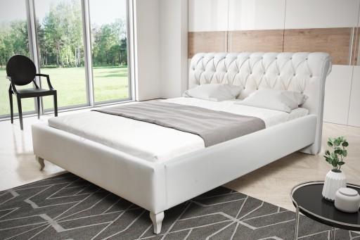 łóżko Białe Tapicerowane 160x200 Z Pojemnikiem Lux