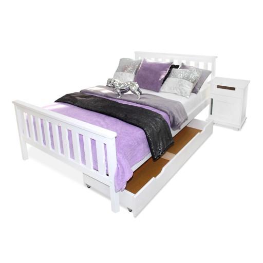 łóżko Drewniane Iza 160x200 Białe Stelaż Produce