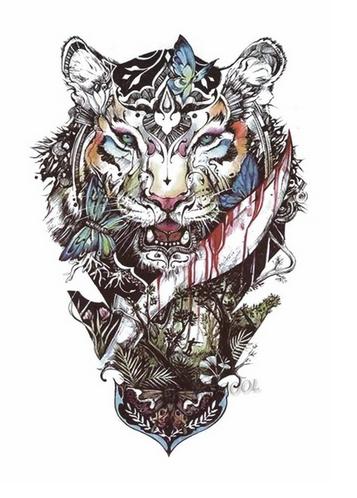 Tatuaż Zmywalny Tygrys Księga Dżungli 98x6cm
