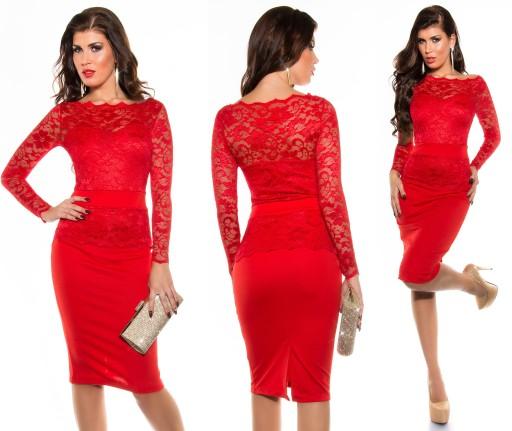15da7aef suknia SUKIENKA KORONKA czerwona 44 XXL na JUŻ