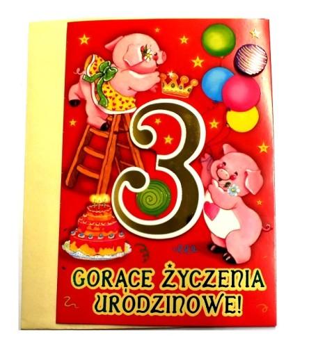 d5c87b210df69e KARTKA 3 urodziny 3 latka życzenia zwierzątka 7765631734 - Allegro.pl