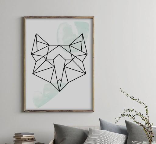 Geometryczny Plakat Zwierzęta Scandi Lis 40x50