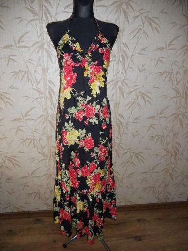 YUMI - czarna sukienka maxi w kwiaty - M