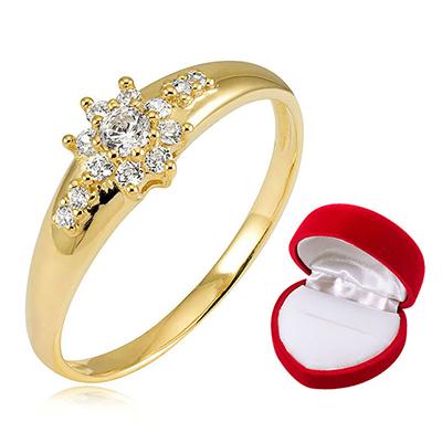 Złoty Pierścionek Zaręczynowy Cyrkonie Super Cena 7119318300