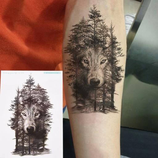 Tatuaż Tymczasowy Duży Wilk Na Przed Ramię 21x15cm