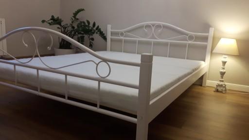 łóżko Metalowe Agata 140x200 Białe I Czarno Białe