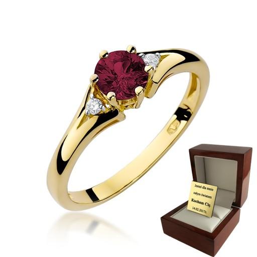 Złoty Pierścionek Zaręczynowy Rubin Brylanty 7205540629 Allegropl