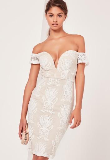 koronkowa sukienka bardot midi dress 40/42 nowa