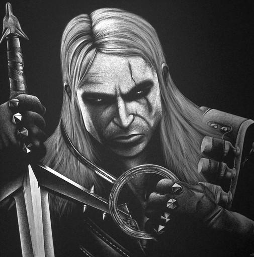 Ręcznie grawerowany w blasze ... Wiedźmin Geralt