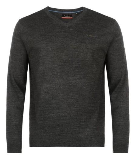 PIERRE CARDIN sweter swetr w serek HIT tu: XL