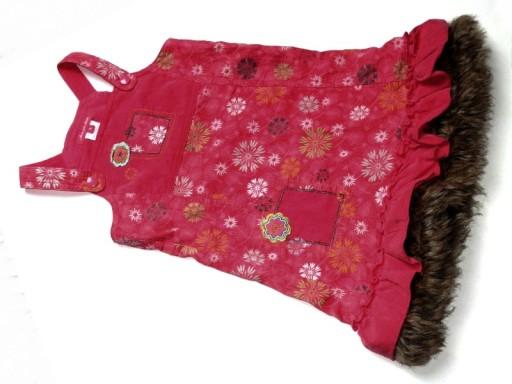 46c56530ff DEUX malinowa sukienka sztruks kwiatki futerko 98 (7607664160 ...
