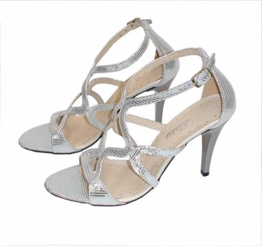 allegro sandały srebrne