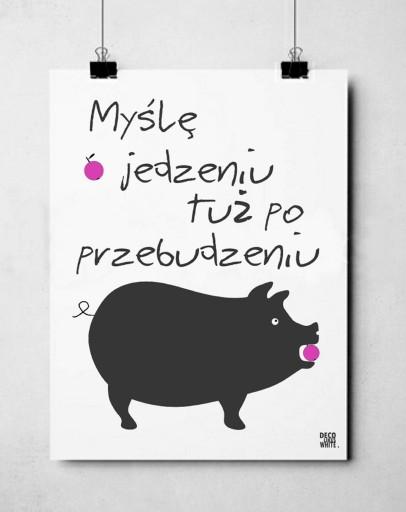 Plakat Typograficzny 40x50 Cytat Jedzenie Kuchnia