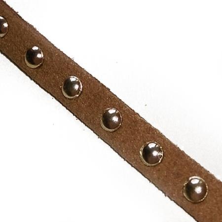 Rzemień Płaski Zamszowy Ćwieki Brązowy 5mm 20cm