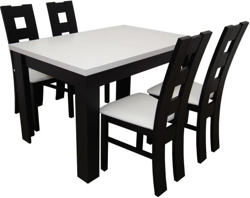 Biało Czarny Zestaw Stół 4 Krzesła