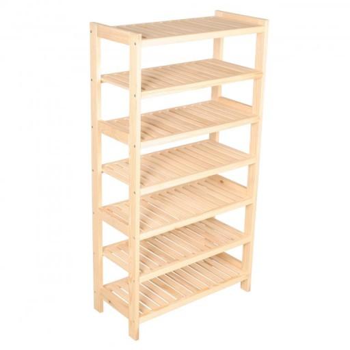 Regał Drewniany Sosnowy 7 Półek 133x60x33 Cm