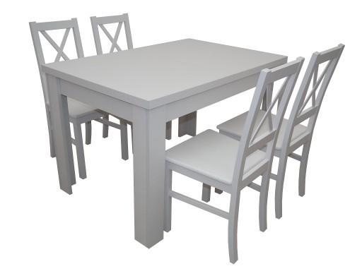 Biały Zestaw Stół 4 Krzesła