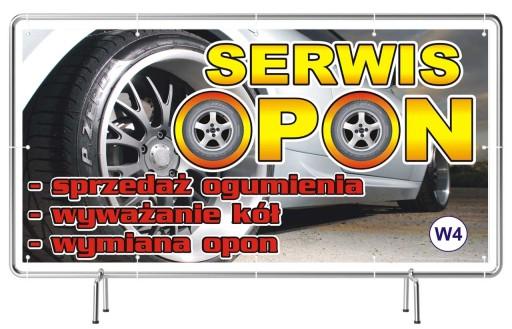 Solidny Baner reklamowy 3x1m Wulkanizacja OPONY