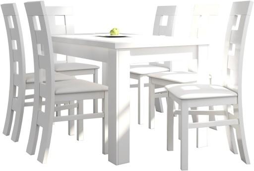 Biały Komplet Stół 6 Krzeseł 6867561863 Allegropl
