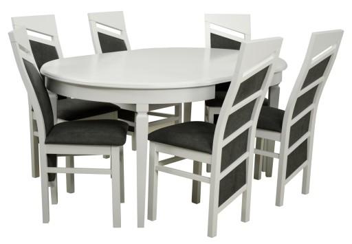 6 Krzeseł I Okrągły Stół 110cm Rozkładany Do 210cm