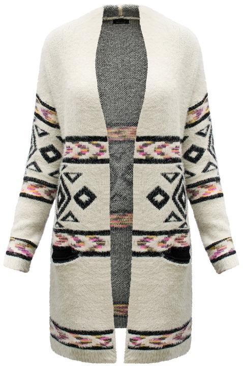 FA#001B Sweter Długi Ciepły Kardigan Boho Etno HIT 6973805519 Odzież Damska Swetry SC EWULSC-3