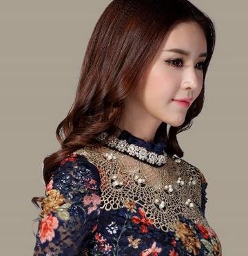 Elegant blouse shirt with flowers lace MODNA XL 9664447174 Odzież Damska Topy IW CINJIW-4