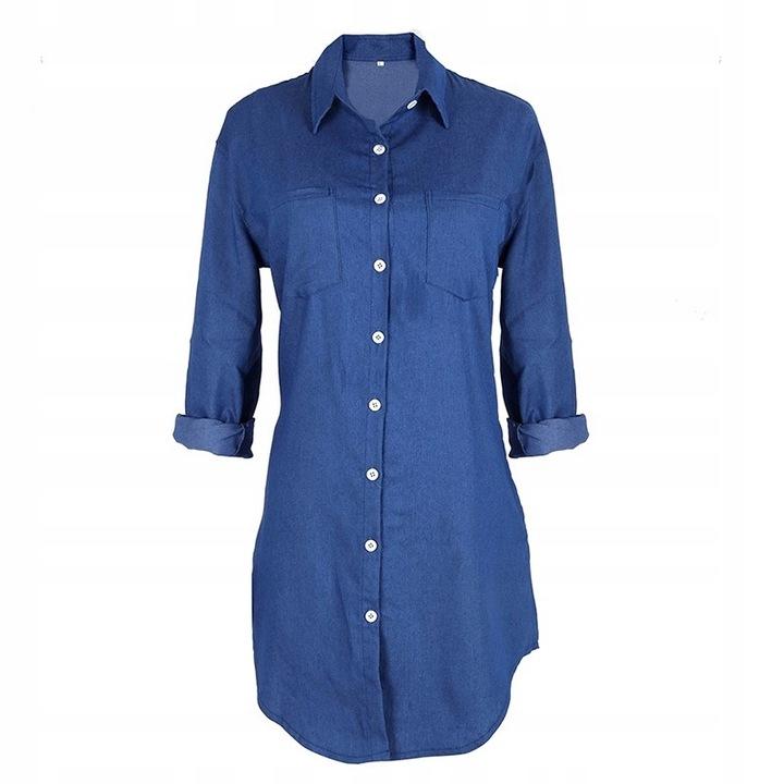 Women's elegant long denim midi shirt XL 42 9664447051 Odzież Damska Topy PC NTVIPC-6