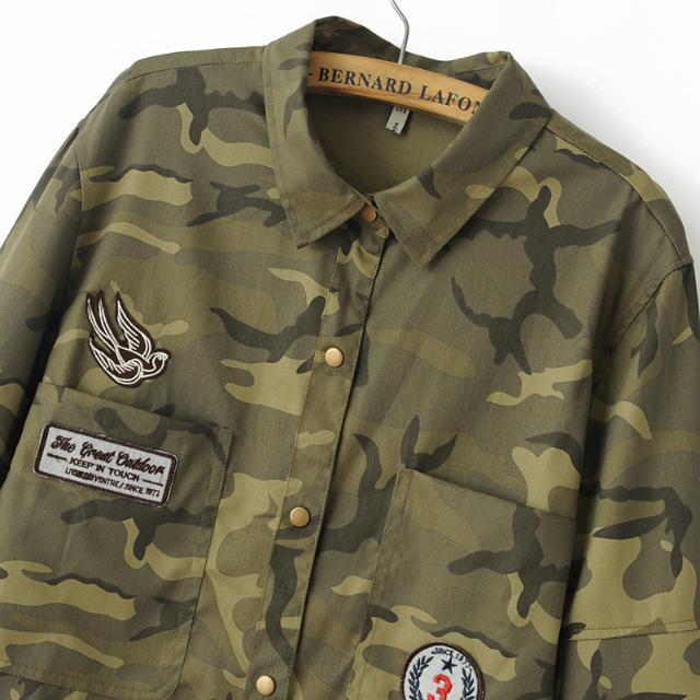 Thick camo shirt army green patches M 9664446348 Odzież Damska Topy DK RPYYDK-2