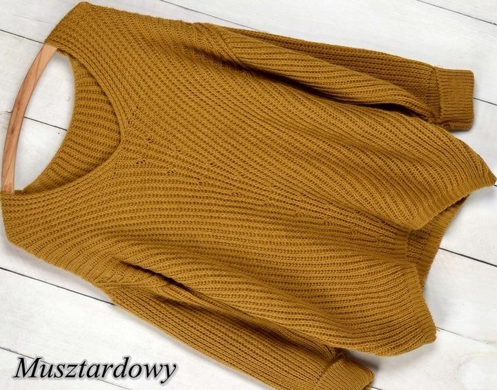 V2 CIEPŁY MIŁY W DOTYKU MIĘCIUTKI SWETER DEKOLT V 7532846980 Odzież Damska Swetry WD ETMIWD-9