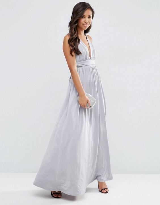 ASOS maxi sukienka krzyżowane ramiączka S 36 8634745224 Odzież Damska Sukienki wieczorowe WP GJYSWP-7