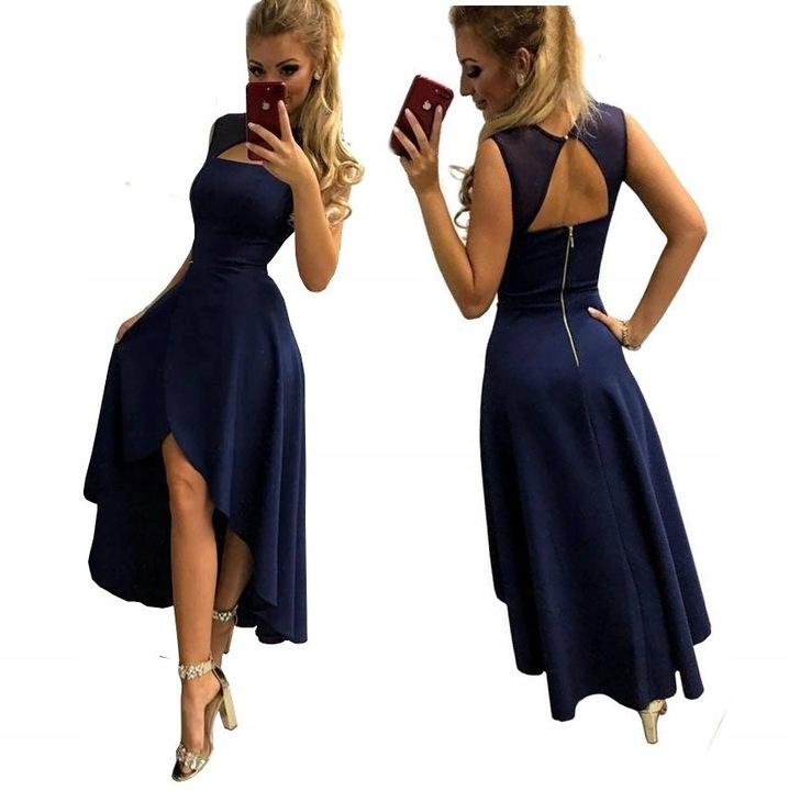 POLA CHABROWA ASYMETRYCZNA SUKIENKA XS 9691853605 Odzież Damska Sukienki wieczorowe VS STUAVS-4